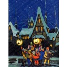 Christmas Caroling in Village at Night