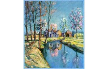 Landscape of Farm in Springtime