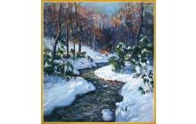 Stream in Snowy Woods