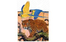 Leopard and Parrots in Jungle